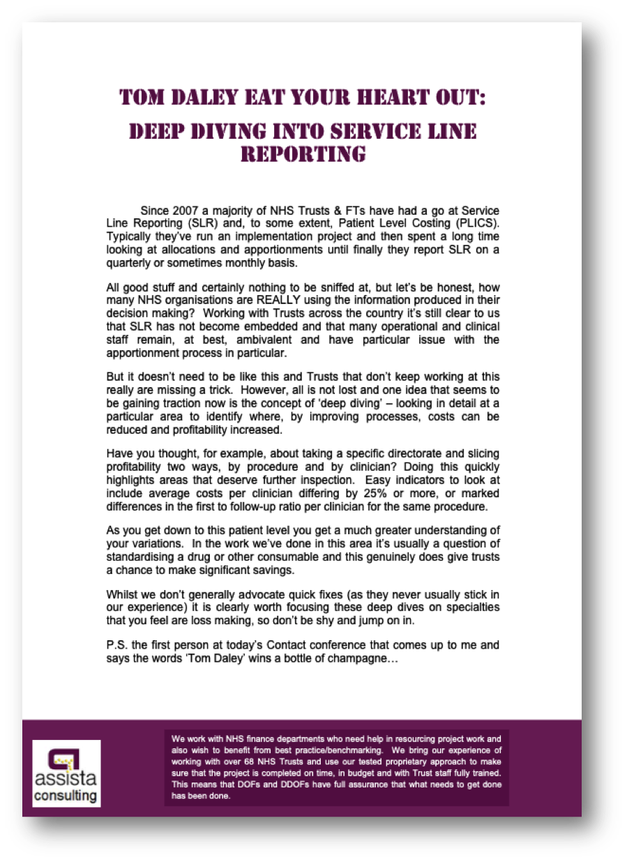 Service Line Reporting